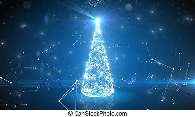 bleu, cyberespace, scintiller, liens, arbre, résumé, numérique, lights., futuriste, noël, 3840x2160, connections., 4k, joyeux, année, croissant, nouveau, ultra, concept., hd, heureux