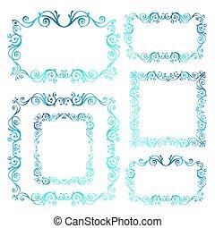 bleu, décoratif, vecteur, hiver, vendange, decoration., theme., calligraphic, frames., année, tourbillon, nouveau, noël