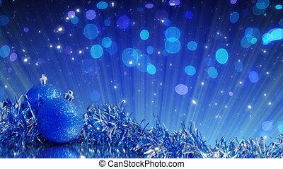 bleu, décoration, arbre, noël, boucle