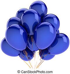 bleu, décoration, hélium, ballons