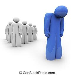 bleu, déprimé, -, personne, sentiment