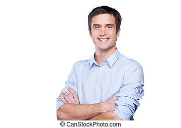 bleu, debout, garder, chemise, businessman., jeune, isolé, regarder, confiant, quoique, appareil photo, armes traversés, portrait, blanc, homme, beau