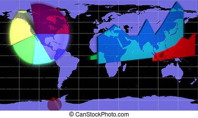 bleu, diagrammes, mondiale, apparaître