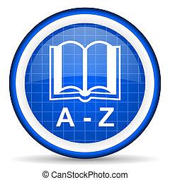bleu, dictionnaire, lustré, fond, blanc, icône