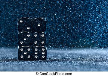 bleu, différent, concept, dés, six, une, arrière-plan., six., cubes, noir, gambling.