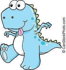bleu, dinosaure, idiot, goofy, t-rex