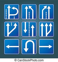 bleu, direction, circulation signe