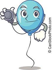 bleu, docteur, balloon, forme, anniversaire, dessin animé
