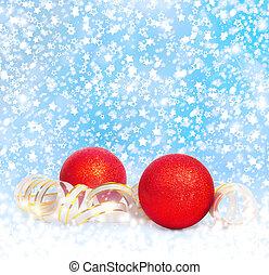 bleu, doré, balles, neigeux, banderole, fond, noël, rouges