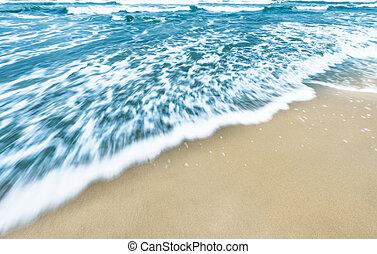 bleu, doré, sand., océan, fond, vagues
