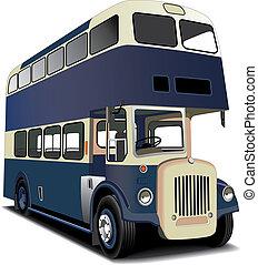 bleu, double autobus decker