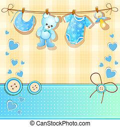 bleu, douche bébé, carte