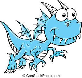 bleu, dragon, idiot, goofy, vecteur