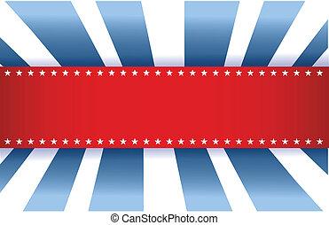 bleu, drapeau américain, blanc, conception, rouges