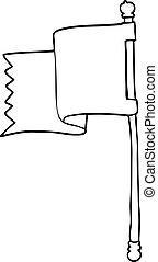 bleu, drapeau, ligne, dessin animé, dessin