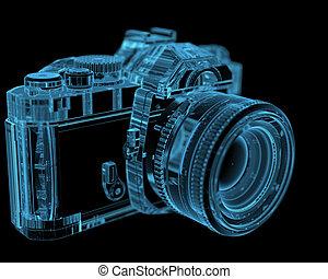 bleu, dslr, (3d, transparent), slr, xray, appareil photo