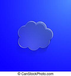 bleu, eco, illustration, verre, vecteur, lustré, nuage, icône