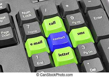 bleu, email, mot, bouton, sms, appeler, noir, clavier, contact, vert, lettre