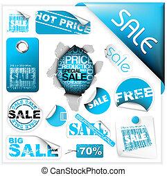 bleu, ensemble, étiquettes, vente, billets, autocollants