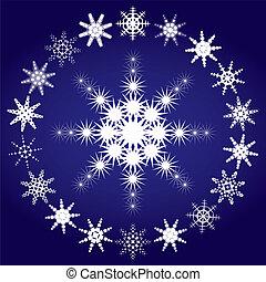bleu, ensemble, flocons neige, illustration, fond, vecteur, 3, partie
