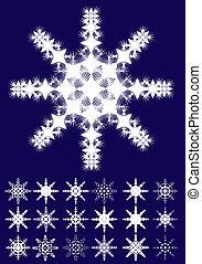bleu, ensemble, flocons neige, illustration, fond, vecteur, partie, 1