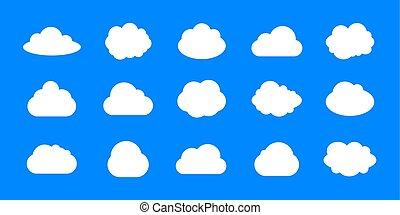 bleu, ensemble, icônes, collection., nuages, vecteur, fond, vide, cadres, blanc