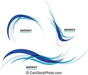 bleu, ensemble, lignes, écoulement, vague