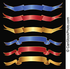 bleu, ensemble, rubans, rouges, or