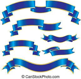bleu, ensemble, rubans