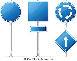 bleu, ensemble, signe, vecteur, trafic, vide