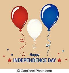 bleu, ensemble, usa, balloon, blanc rouge, jour, indépendance, célébration