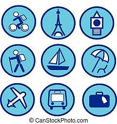 bleu, ensemble, voyager, -2, tourisme, icône