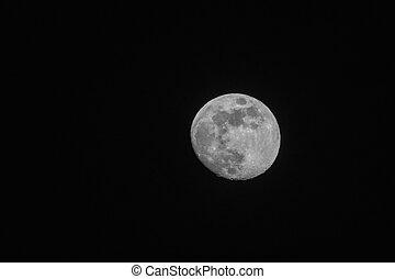 bleu, entiers, ciel, lune, sombre, nuit