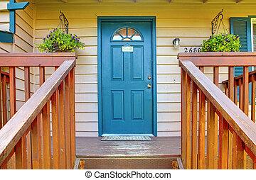 bleu, entrée, porte, porche