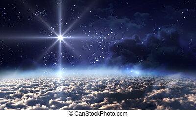 bleu, espace, étoile, nuit