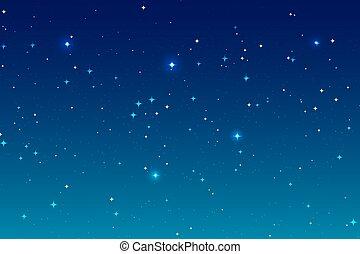 bleu, espace, beaucoup, ciel, profond, stars., fond, nuit, paysage