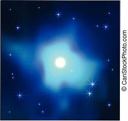 bleu, espace, réaliste, couleurs, vecteur, fond, galaxie