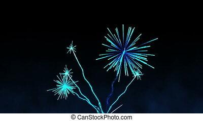 bleu, exploser, feux artifice