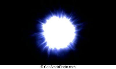 bleu, explosion, lumière, éblouissant