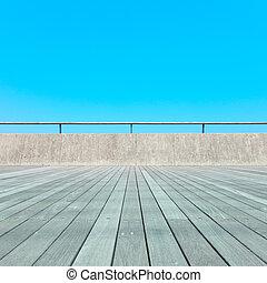 bleu, extérieur, barrière, sky., plancher bois, architecture, fond, balcon, béton, perspective, planche