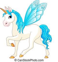 bleu, fée, queue, cheval