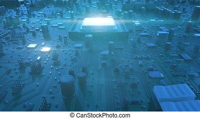 bleu, fait boucle, carte mère, unité centrale traitement, sur, voler, flares., ultra, processors., animation, planche, circuit, numérique, 4k, technologie, concept., hd, 3d