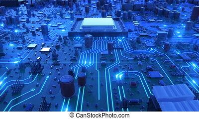 bleu, fait boucle, vol, processeurs, carte mère, sur, unité centrale traitement, flares., ultra, signals., animation, planche, circuit, numérique, 4k, technologie, concept., hd, 3d