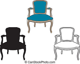 bleu, fauteuil, style