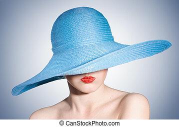 bleu, femme, élégant, séduisant, portrait, chapeau