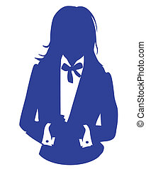 bleu, femme, avatar, costume