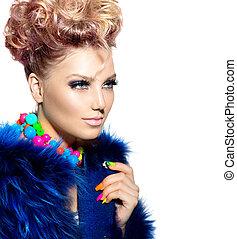 bleu, femme, fourrure, beauté, manteau, mode, portrait