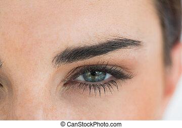 bleu, femme, yeux