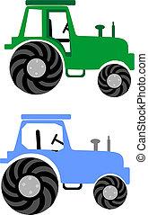 bleu, ferme, 2, vert, tractors: