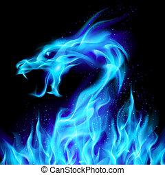 bleu, feu dragon
